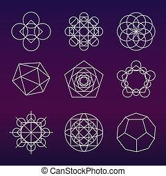 Sacred geometry set - Sacred geometry Alchemy, religion,...