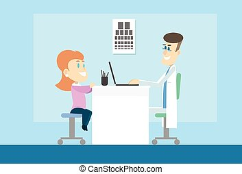 Woman Visit Oculist Ophthalmologist Doctor Office Hospital...