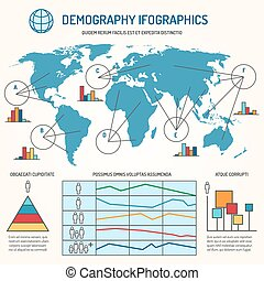 Demographic infographics vector template