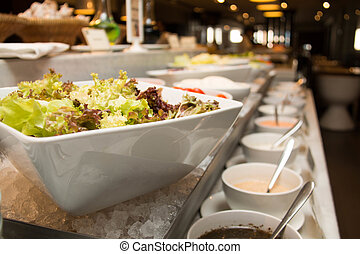 buffet fresh vegetable on salad bar corner