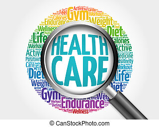 Health care word cloud with magnifying glass