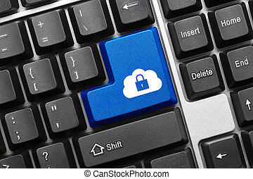 Conceptual keyboard - Blue key with cloud and lock symbol -...