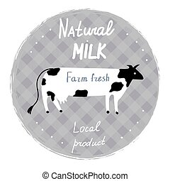 Milk label with cow and frame - template for organic farm,...
