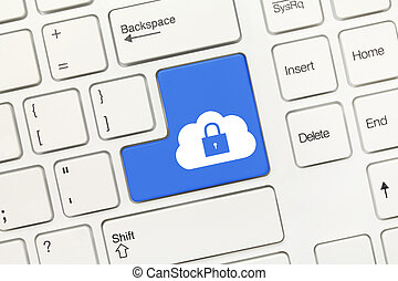 White conceptual keyboard - Blue key with cloud and lock...