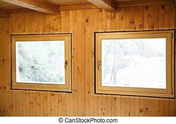 Novo, eficiente, janelas, installed, em, madeira, casa,