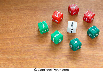 Multiple fraction dices - Three color fraction dices, use in...