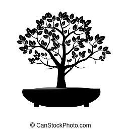 Black Vector Tree Illustration Bonsai
