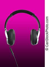 headphones on pink