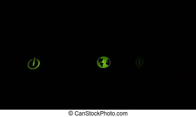 Footage Wi-Fi router green icons blinking close up. Full HD...