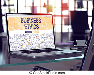 Business Ethics on Laptop in Modern Workplace Background.