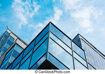 Panoramic wide angle view to steel blue background of glass...