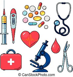 Set of medical icons isolated, color sketch