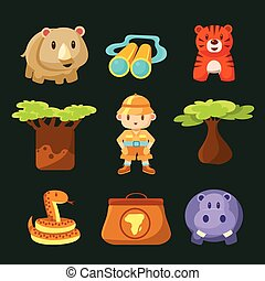 Male Jungle Explorer Collection Of Flat Vector Cartoon Style...