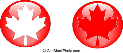 Maple leaf buttons - two red and white web buttons feauring...