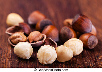 hazelnuts - Closeup view of hazelnuts on a wooden table