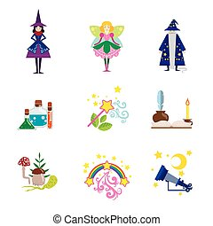 Fairytale Characters And Related To Them Objects Set Of Flat...