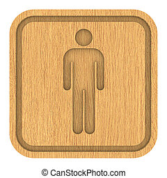 Wooden Men Toilets Sign