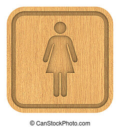 Wooden Women Toilets Sign