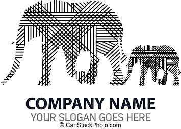 Mother and Baby Elephant Logo