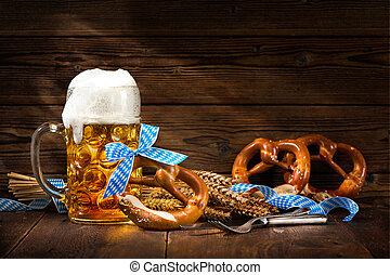 Original bavarian pretzels with beer stein