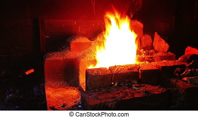 Forging Fire For Heating Metal - Forging a fire for heating...