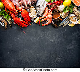 Shellfish plate of crustacean seafood with fresh lobster,...