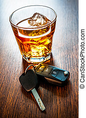 dont drink and drive - Whiskey with car keys concept for...