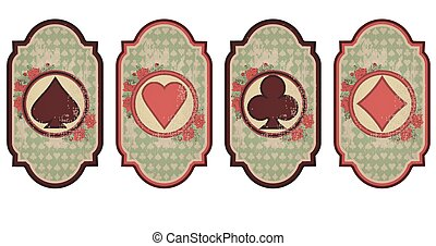 Set vintage poker cards, vector