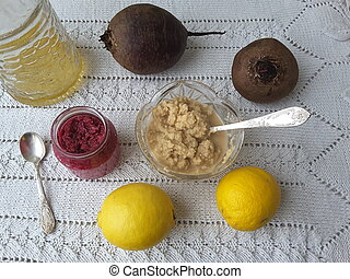 Horseradish sause with lemon and beet, beetroots