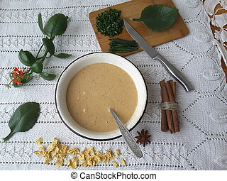 Cooking muffins with Kalanchoe, vegetarian food with...