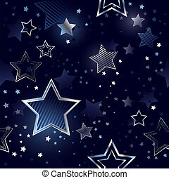 Seamless Background with Silver Stars - blue, night,...
