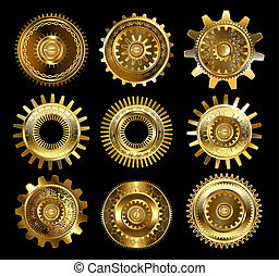 Set of complex gears - set of vintage, patterned brass and...