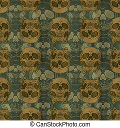 Terrible frightening seamless pattern with skull on a...