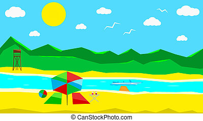 Flat sunny beach