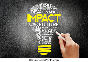 IMPACT bulb word cloud, business concept on blackboard