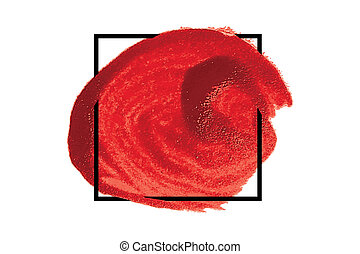 Red acrylic paint circle, vector texture for your design...