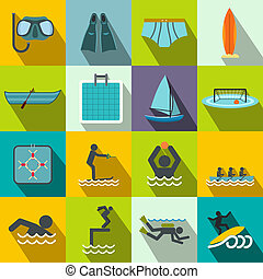 Water sport flat icons set for web and mobile devices