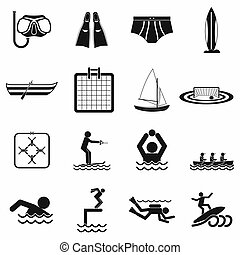 Water sport black simple icons isolated on white background