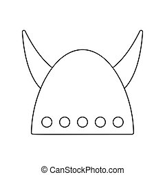 Viking helmet with big horns thin line icon on a white...