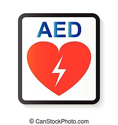 AED Automated External Defibrillator , heart and thunderbolt...