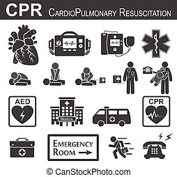 CPR Cardiopulmonary resuscitation icon black and white ,...