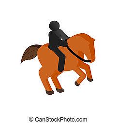 Horseback riding isometric 3d icon on a white background