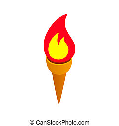 Burning torch isometric 3d icon on a white background