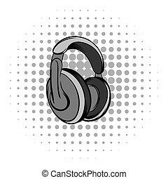 Big headphones grey comics icon
