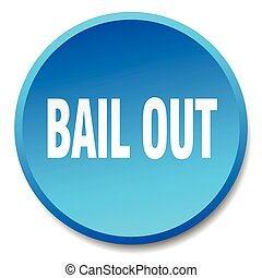 bail out blue round flat isolated push button