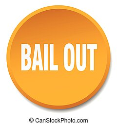 bail out orange round flat isolated push button
