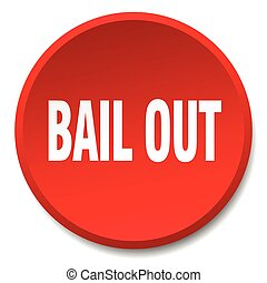 bail out red round flat isolated push button