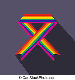 Rainbow ribbon flat icon with shadow on the background