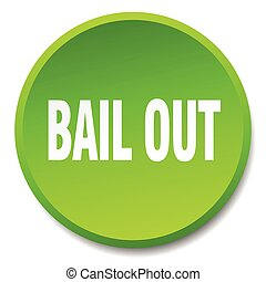 bail out green round flat isolated push button