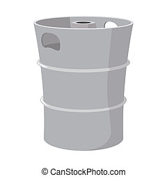 Metal beer keg cartoon icon on a white background